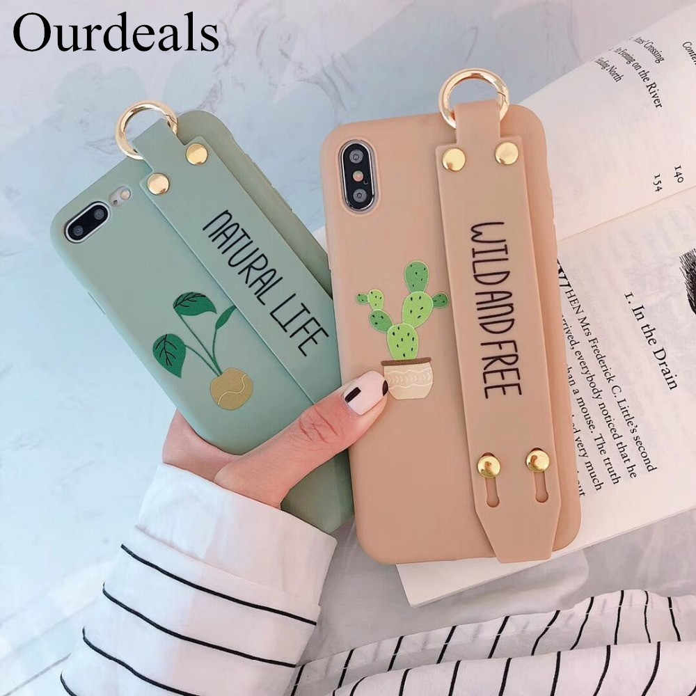 Ourdeals Paar Candy Wrist Band cactus Telefoon Case Voor iphone XS MAX Voor iphone XR X 8 7 6 6s plus Beugel soft shell TPU Funda