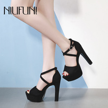 Fashion Thick With Waterproof Platform Womens Sandals 2019 Sexy New Ladies Super High Heels Elegant Wedding Party Buckle Shoes