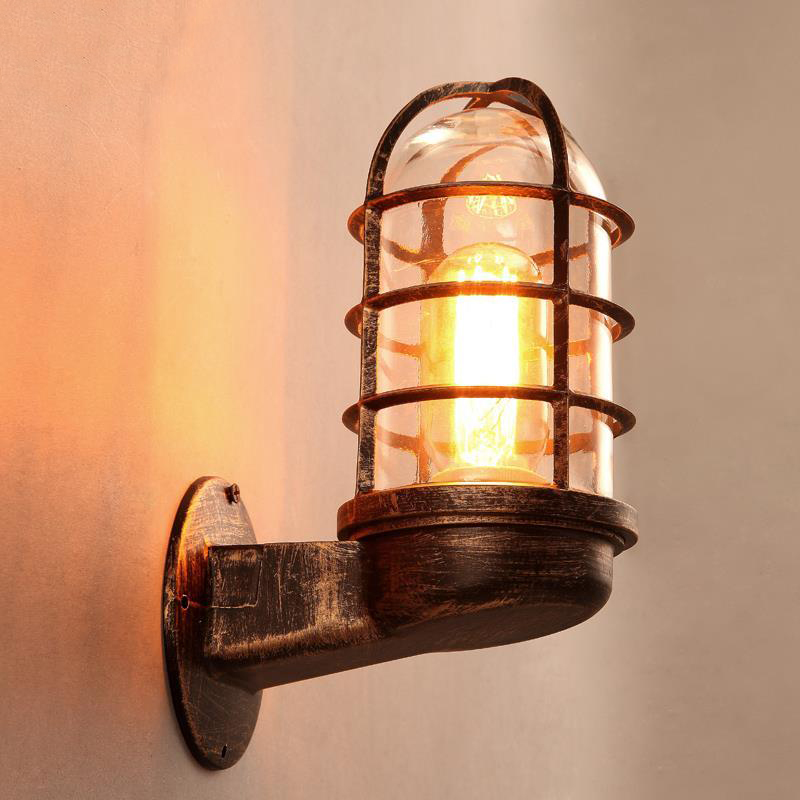 Loft Retro Industrial Wind Restaurant Bar Counter LED Wall Lamp American Rural Iron Balcony Aisle Decorative Glass Lights