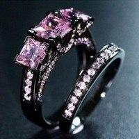 2016 nuevo estilo de tres Piedra Rosa birthstone 5A Piedra del ZIRCON negro oro plata de ley 925 de la boda de compromiso anillo Set