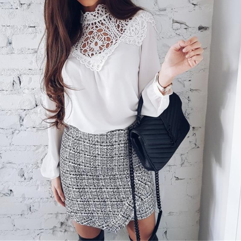 Spring White Chiffon Blouse Shirt Women 2018 Lady Floral Lace Patchwork Tops Sexy Hollow Out Office Shirts WS5945O