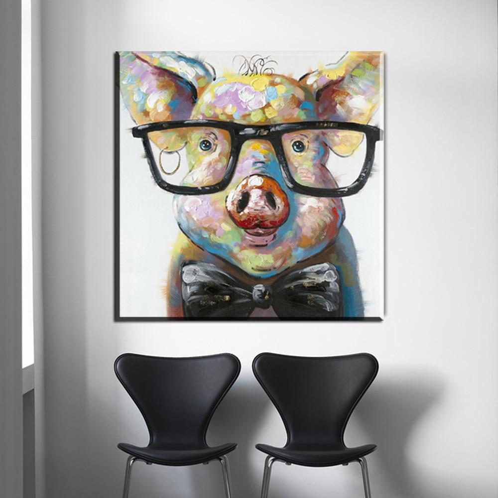 Fun Animal Art Hand Painted Oil Painting on Canvas Pop Art Framed 50 x 50cm Colourful Giraffe Painting