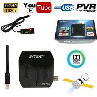 Skysat V9 Plus North America Digital Satellite Receiver Cline Receptor TV Tuner DVB S2 MPEG4 WiFi IKS CS Youtube Powervu biss
