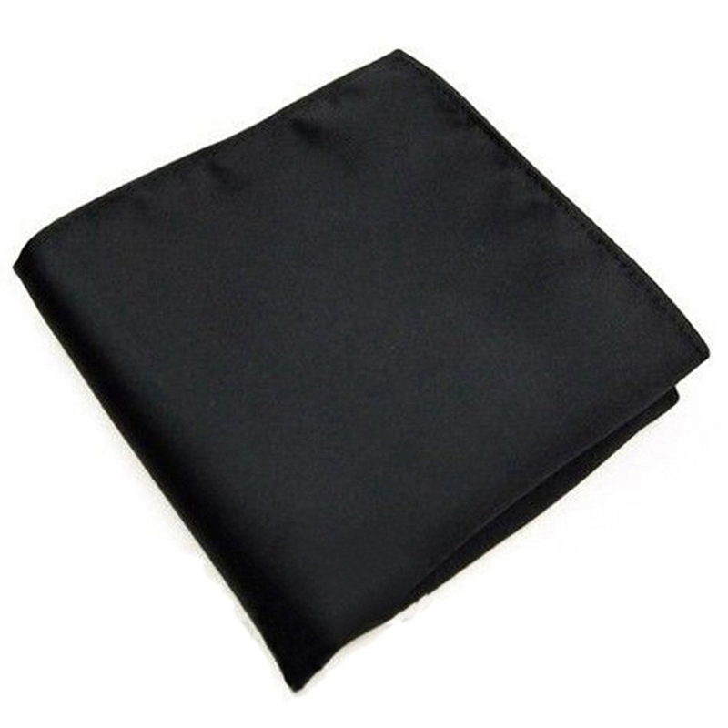 New Men's Pocket Hanky Plain Color Wedding Party Square Hankerchief (Black)