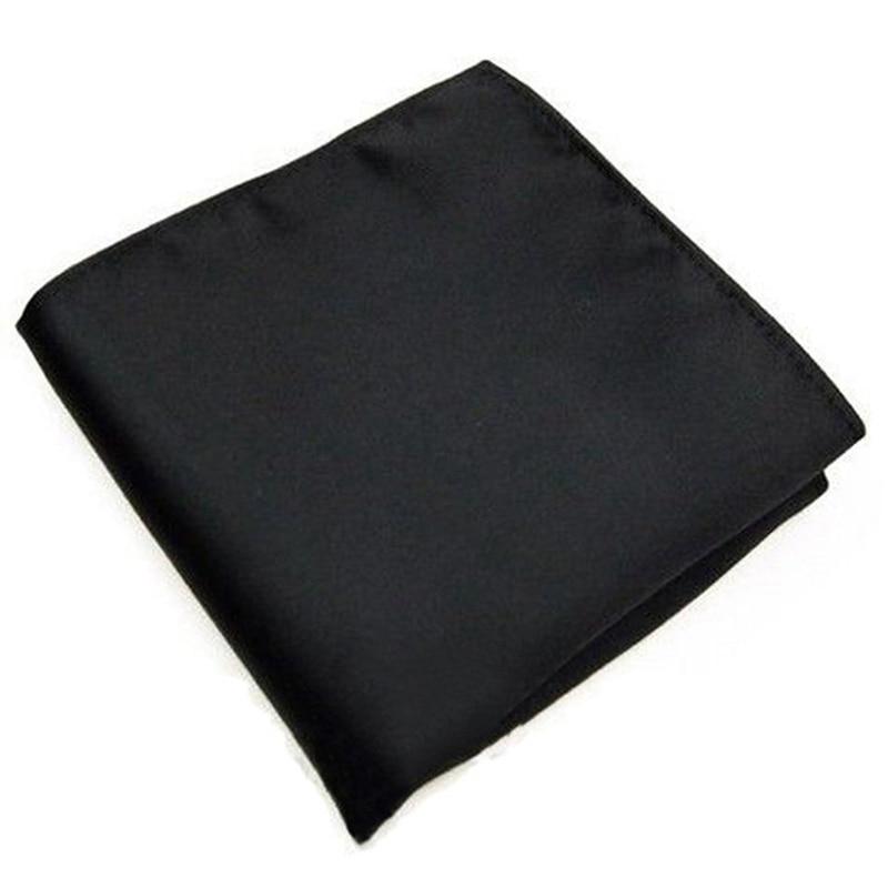 New Men's Pocket Hanky Plain Color Wedding Party Square Hankerchief (Black)
