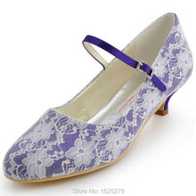 Frauen Braut Weiß Elfenbein Mary-jane Brautkleid Pumps Closed Toe Low Heels Satin 100120 Lila Blaue Spitze hochzeit Schuhe