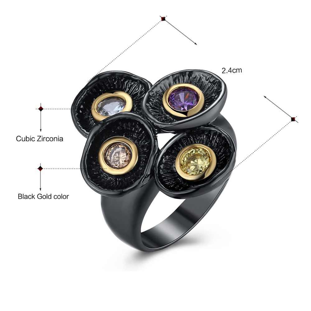 DreamCarnival 1989 cztery kolory gotyckie pierścienie dla kobiet Vintage Gothic czarny złoty kolor unikalny wygląd Ladies Party biżuteria WA11483
