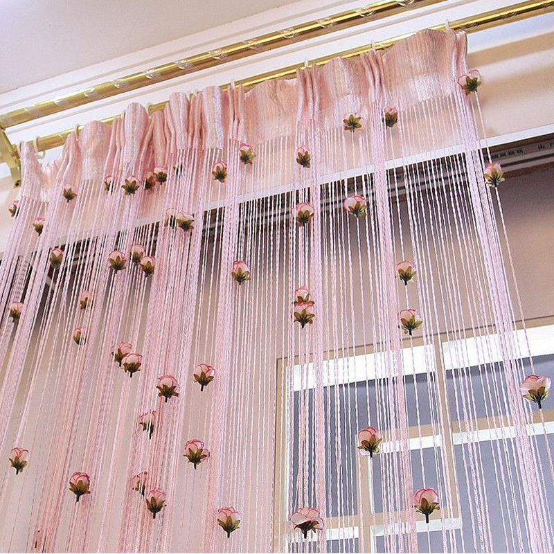 Flower Rose Romantic Pastoral Line Curtain Living Room Divider String Curtains Store Decoration