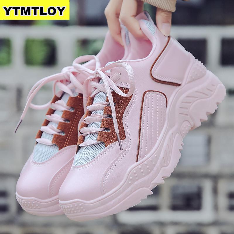 Plus Size Fashion Women Shoes Vulcanize Breathable Mesh Flats Sneakers Comfort Platform Black Chunky Shoes 2019 Desiner Shoe