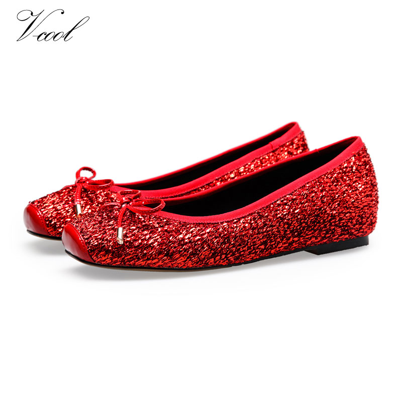 2016 Ladies Shoes Glitter Flats Womens Ballerina Flat Shoes For Women  Ballerina Flats Zapatos Mujer Drop Shipping 69c0ec7ab1