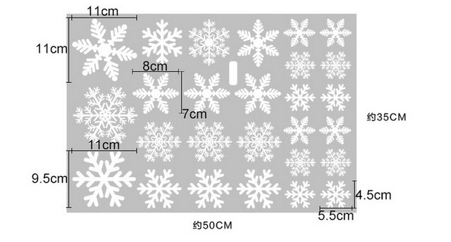 27Pcs/Lot Christmas Snowflake Window Sticker Winter Wall Stickers Kids Room Christmas Decorations for Home New Year Stickers 4