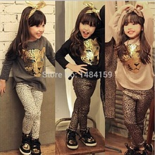 Toddler Girls Clothing Sets Full Sleeve T Shirt Leopard Legging Vestidos