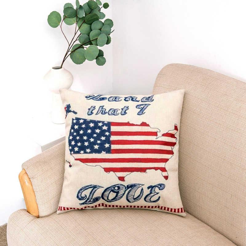 المخدة usa في المملكة المتحدة كندا العلم رمي وسادة القطن الكتان غطاء وسادة ل أريكة نوم
