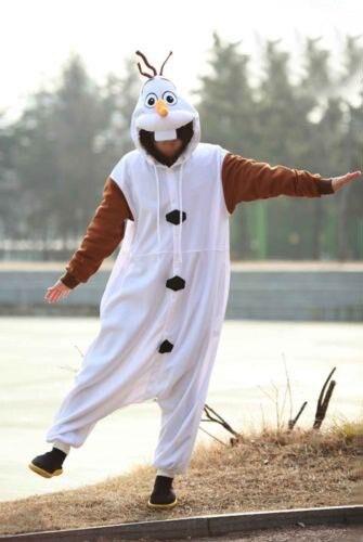 Anime Costume Pajamas Olaf Snowman Cosplay White jumpsuit