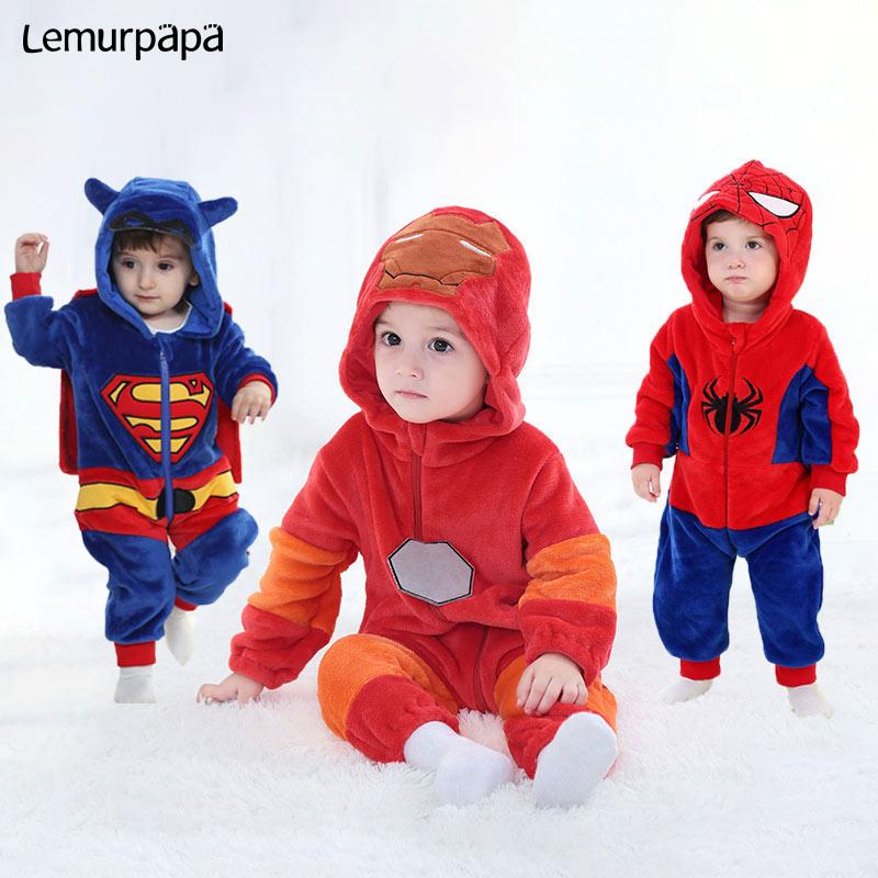 Baby Animal Kigurumi Super Hero Rompers 0-3 Years Toddler Clothes Boy Girl Cartoon Onesie Zipper Flannel Warm Infant Kawaii Suit