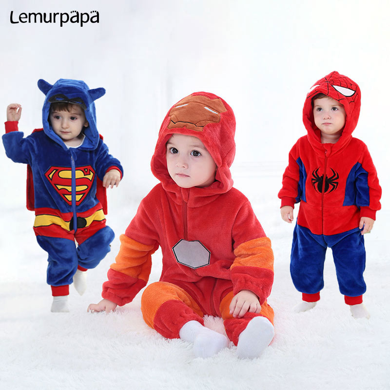 Baby Animal Kigurumis Super Hero Rompers 0-3Years Toddler Clothes Boy Girl Cartoon Onesie Zipper Flannel Warm Infant Kawaii Suit