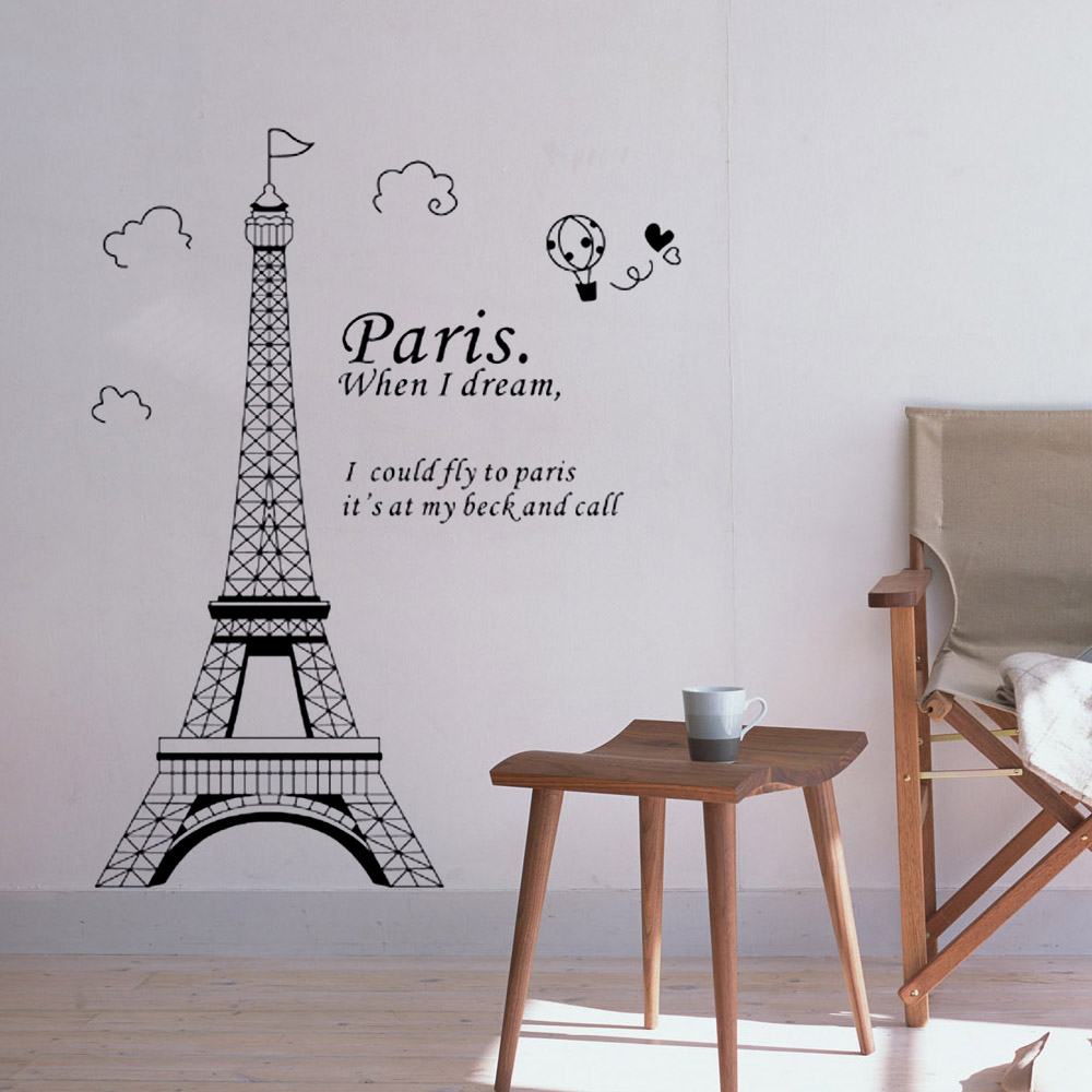 Diy wall sticke art decor mural room decal sticker romantic paris diy wall sticke art decor mural room decal sticker romantic paris eiffel tower france wallpaper stickers for home decoration in wall stickers from home amipublicfo Images