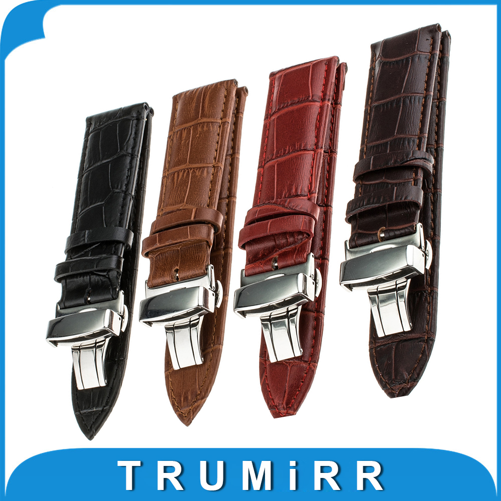22mm Butterfly Buckle Watch Band Genuinle Leather for Samsung Gear 2 R380 Neo R381 Live R382