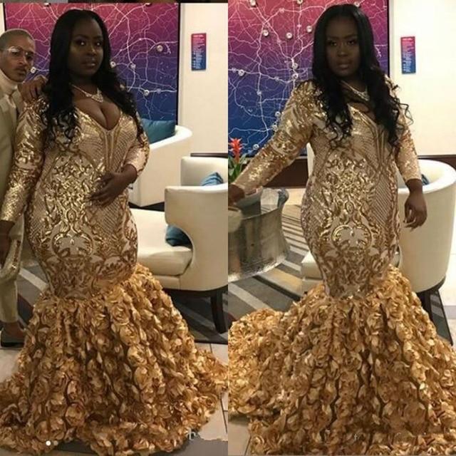95dd9794f8b6 Gold Black Girls Plus Size Prom Dresses 2019 v Neck Sequin Applique Long  Sleeves Rose Floral