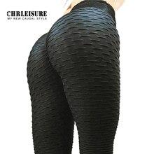 CHRLEISURE Schwarz Leggings Frauen Polyester Ankle Länge Standard Falten Hosen Elastizität Halten Schlank Push Up Fitness Weibliche Legging