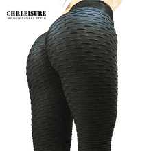 Chrloisirs noir Leggings femmes Polyester cheville longueur Standard pli pantalon élasticité garder mince Push Up Fitness femme Legging