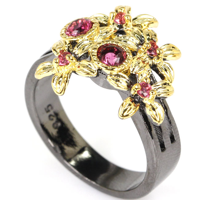 8 0 Vintage Pink Raspberry Rhodolite Garnet Woman 39 s Party Black Gold 925 Silver Ring 17x16mm in Rings from Jewelry amp Accessories
