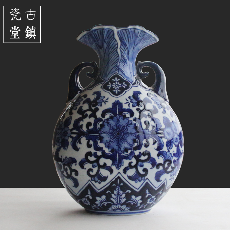 Jingdezhen ceramic vase ornaments Chinese living room antique blue and white porcelain hand painted home furnishings decoration in Vases from Home Garden