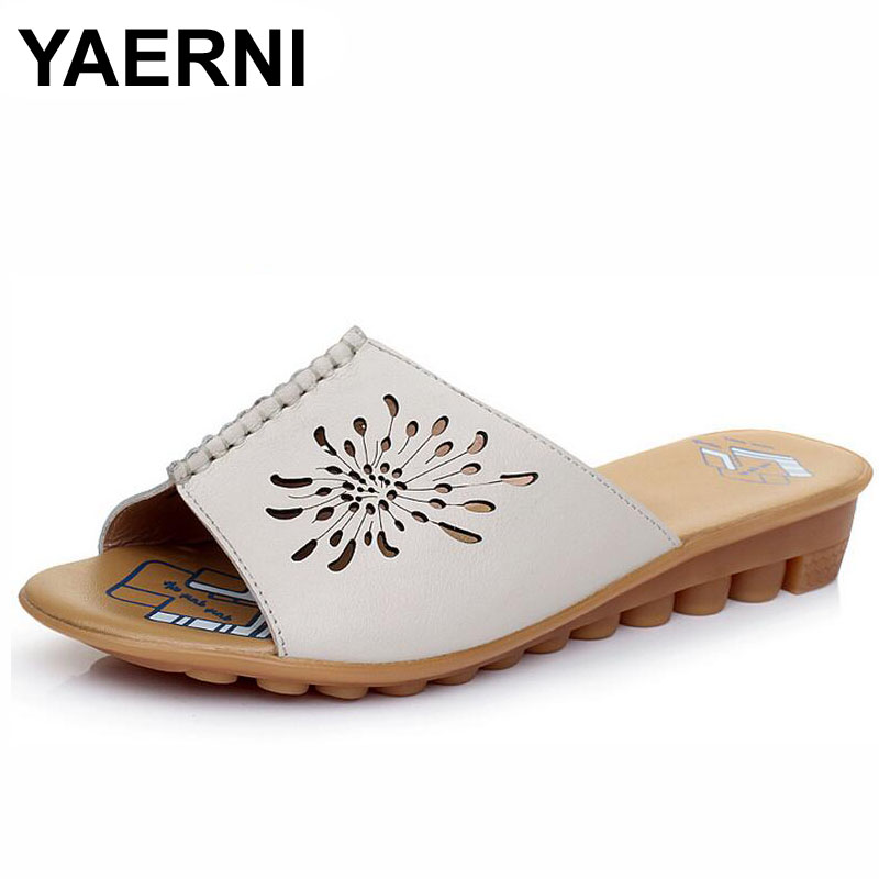 YAERNI 2017 Summer Cut Out Female Sandals Fashion Solid Beach Ladies Slides Slippers Genuine Leather Women Shoes Plus Size 43 plus cut out solid kimono