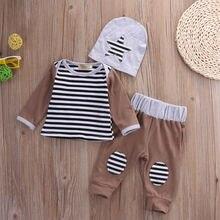 3PCS Set Newborn Kids Baby Boys Girls Outfits Clothes T-shirt +Pants Legging+Hat