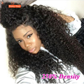 Malaysian Kinky Curly Virgin Hair 250% Density Front Lace Wigs Natural Black Color Lace Front Human Hair Wigs For Black Women