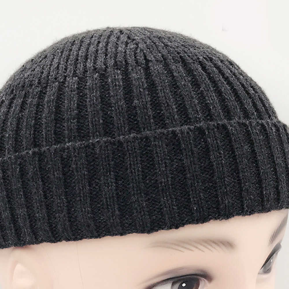 ... Men s Chic Knitted Hat Flanging Solid color 2018 New Fancy Beanie  Skullcap Sailor Cap Cuff Brimless ... 8fa666b7dba2