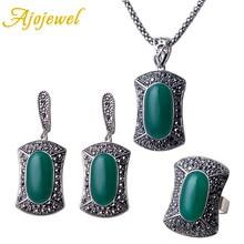 Ajojewel Big Stone Resin Vintage Style Full Of Small Black Rhinestone Square Pendant Jewelry Set Bijou For Women Ring Size 7,8,9