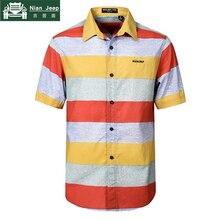 NIANJEEP 2018 Cotton Striped Summer Shirts Men Short Sleeve Loose Casu