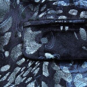 Image 5 - Homens Blazers Florais Shenrun Azul Marinho Wine Terno Vermelho Jaqueta Slim Fit Blazer Jaquetas Cantor Anfitrião Traje Do Estágio Músico Tamanho m 6XL