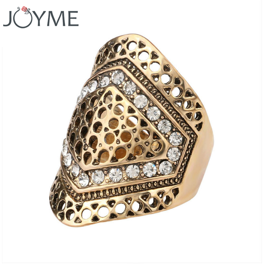 Party Wedding Rings For Women Mosaic Rhinestone Steampunk Antique  Goldcolor Geometric Wide Big Ring