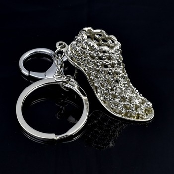 New Personality Lady Crystal High Heels Metal Key Rings Car Advertising Key Rings Chain Pendant image