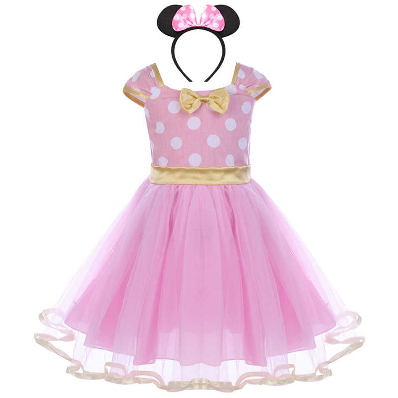 c4a51bdb6 ... 2pcs Set Toddler Baby Girls Clothes Polka Dot Tulle Minnie Mouse Dress  Headband Princess Birthday Mickey