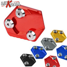 все цены на CNC Aluminum Motorcycle Side Stand Enlarge Kickstand Extension Plate Pad for Honda GROM MSX125 MSX 125 2013 2014 Red Blue Gold онлайн