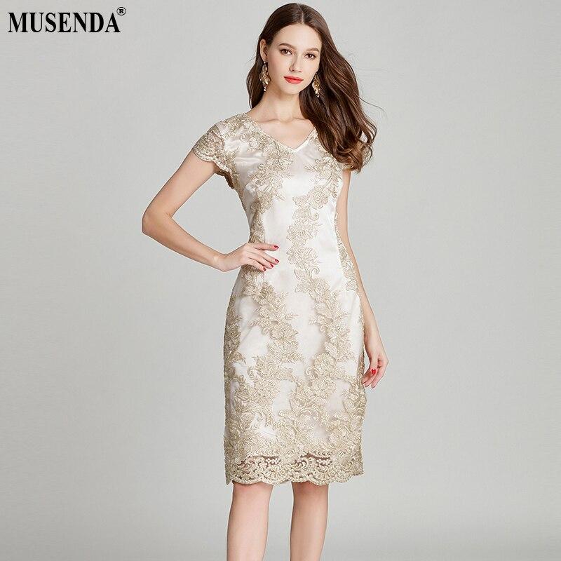MUSENDA Plus Size Women Gold Lace Embroidery Cap Sleeve Tunic Split Pencil Dress New 2018 Summer Sundress Ladies Party Dresses
