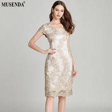 MUSENDA Plus Size Women Gold Lace Embroidery Cap Sleeve Tunic Split Pencil Dress New 2018 Summer Sundress Ladies Party Dresses