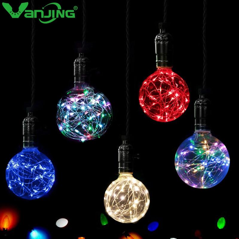 Vintage bombilla LED E27 220 V 110 V LED lámpara de filamento Multi Color las luces de hadas para Navidad Fiesta de boda de decoración del hogar