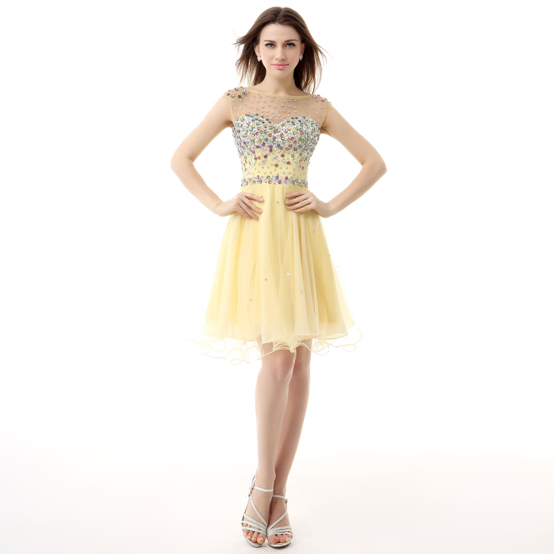 Scoop Sheer Neck Yellow Colorful Beading Girls Homecoming   Dresses   Short   Cocktail     Dresses   Party Prom Gowns