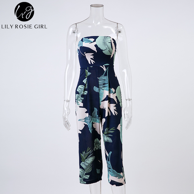 Lily Rosie Girl Off Shoulder Navy Blue Floral Print Jumpsuit Women Summer Beach Long Rompers Sexy Backless Playsuits Overalls