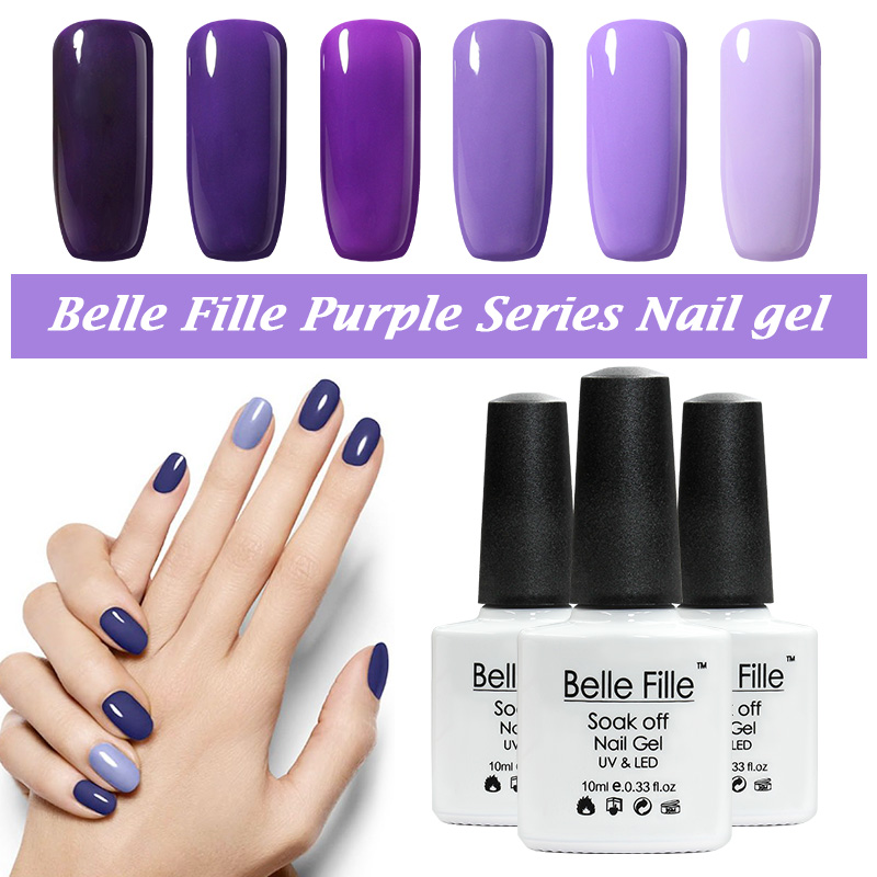 Belle Fille Gel Polish Paars Serie Kleur Coat UV LED Losweken Nagellak Gel Ontwerpen Paars Kleuren Coat UV LED Gel