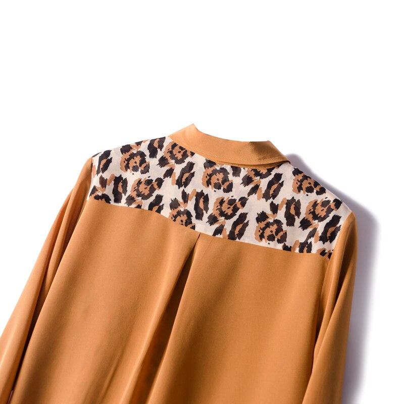 Blusa con estampado de leopardo y crepé de seda REAL de 100% para mujer, Blusa de manga larga para primavera y verano 2019, blusa para mujer - 4