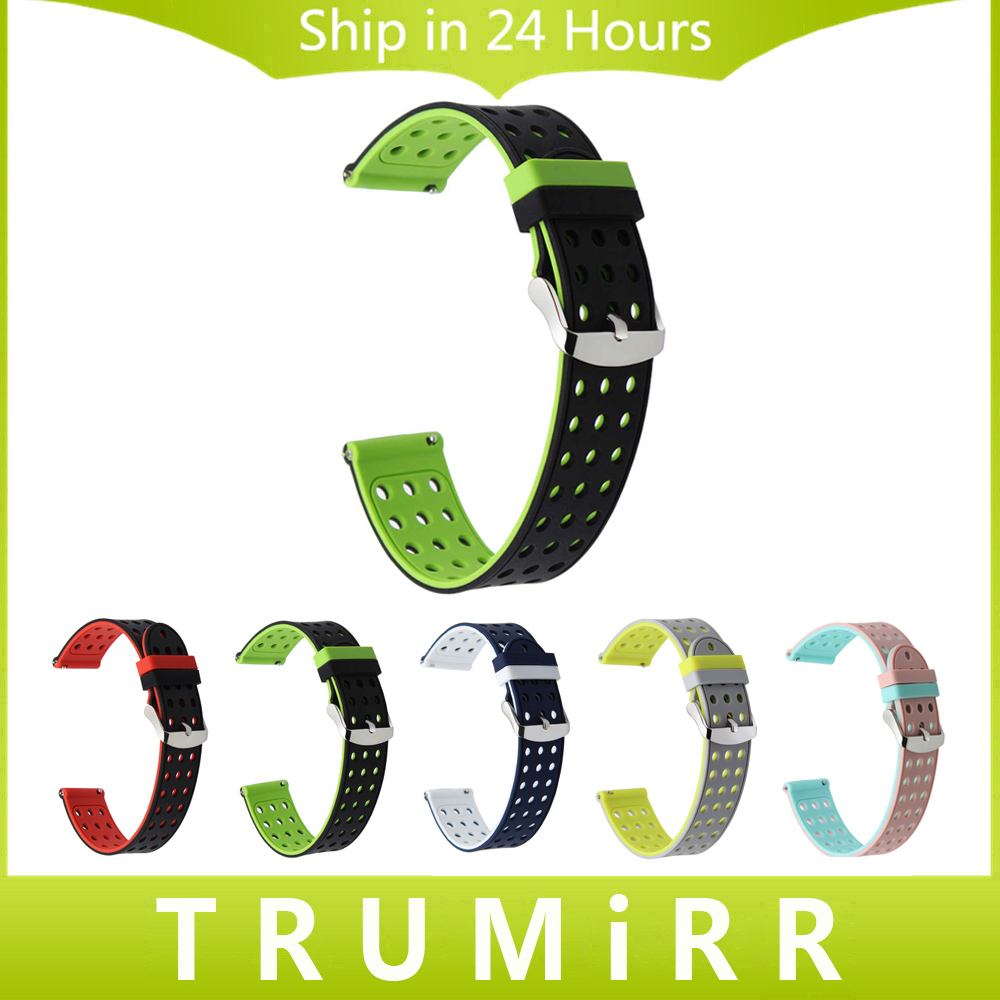 Quick Release Silicone Rubber Watchband 20mm for Garmin Vivomove Huawei Watch 2 (Sport) Bradley Timepiece Wrist Band Strap Black 20mm quick release stainless steel watchband for garmin vivomove huawei watch 2 sport bradley timepiece wrist band link strap