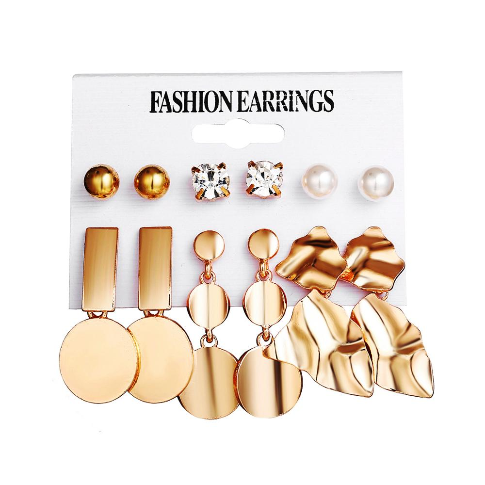 2019 Fashion Geometric Gold Color Stud Earrings Set For Women Girls Metal Elephant Moon Letter Earring Handmade Female Jewelry-in Stud Earrings from Jewelry & Accessories on AliExpress
