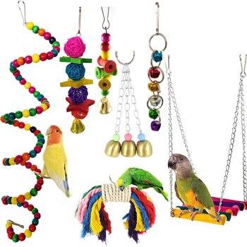 7 sztuk/zestaw połączenie zabawka papuga ptak art. papuga gryźć zabawki zabawki dla ptaków papuga śmieszne Swing Ball Bell stały zabawki szkoleniowe