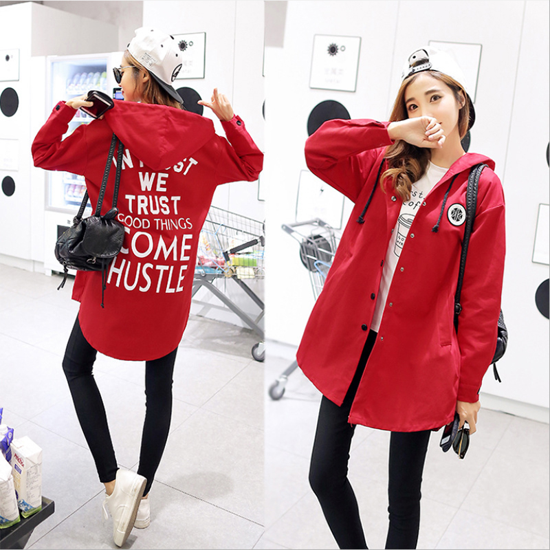 NO.22 Street 2018 Spring Autumn Women   Basic     Jacket   Windbreaker Coat Single Breasted Pocket Hooded Words Printed Female Outwear