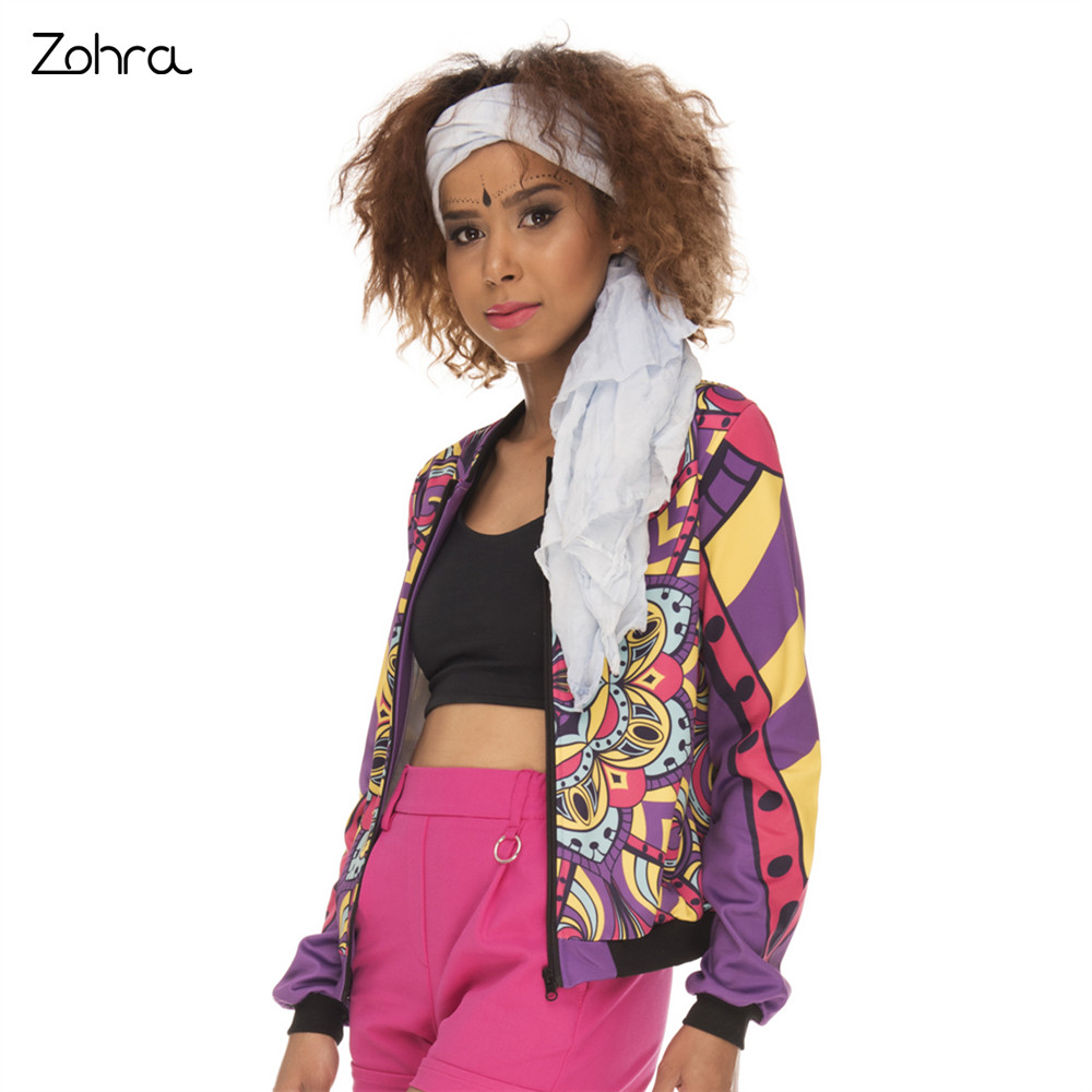 Zohra High Quality Women Bomber Jacket Mandala Deep Purple Printing Jaqueta Feminina Fashion Cozy Basic Jacket for Woman